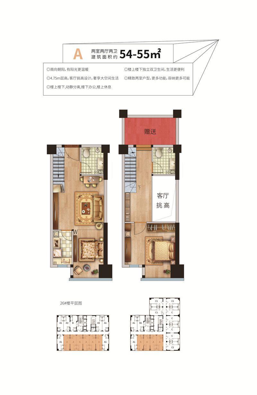 荣盛·领寓A户型 54-55㎡