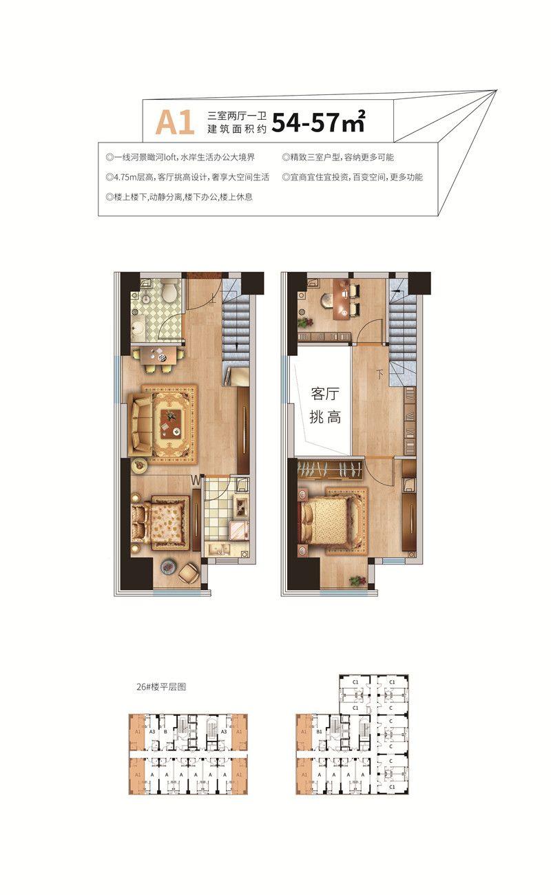 荣盛·领寓A1户型 54-57㎡