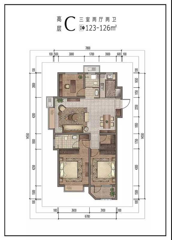 宝丽·江山樾高层C户型 三室两厅两卫