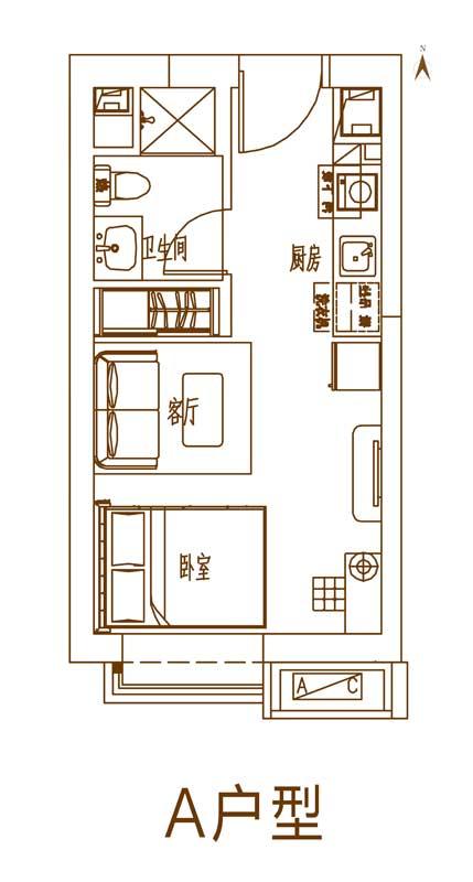 恒大中央广场7#A户型_约37㎡