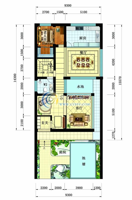 别墅户型图C-一层