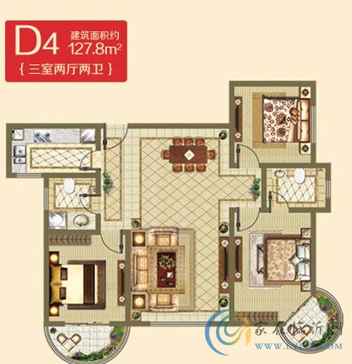 D4户型127.8㎡ 三室两厅一卫