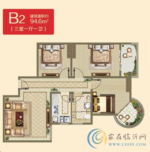 B2户型94.6㎡ 两室一厅一卫