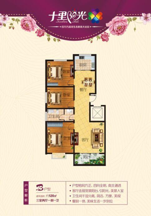 十里阳光B户型120㎡三室两厅一厨一卫