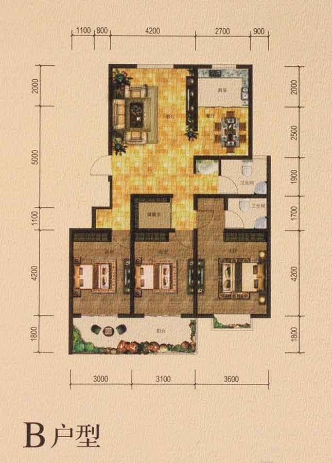 3#、7#中间B户型 133㎡ 三室两厅两卫