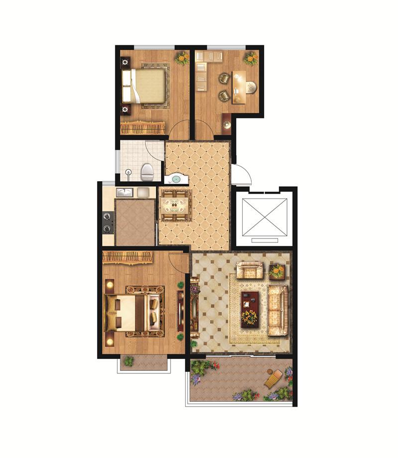 翡翠城洋房B户型98㎡ 三室两厅一卫(中间户)