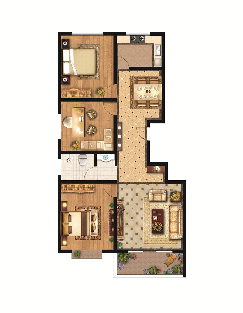 翡翠城高层C户型 110㎡ 三室两厅一卫(边户)