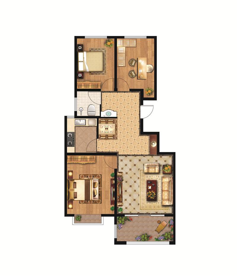 翡翠城高层D户型 94㎡ 三室两厅一卫(中间户)