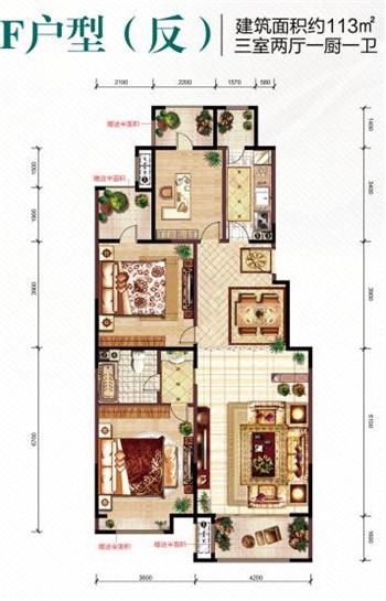 伊丽莎白洋房f户型 约113㎡三室两厅一厨一卫