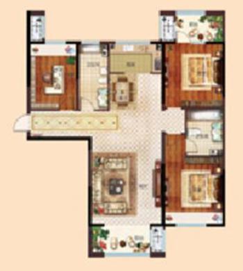 伊丽莎白高层E户型 约120㎡ 三室两厅一厨两卫