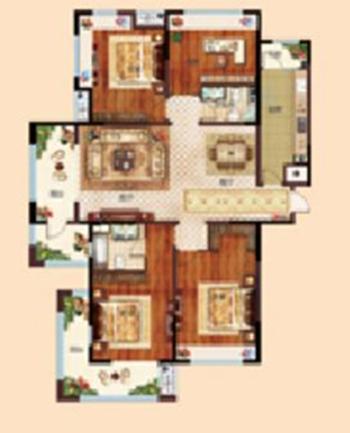 伊丽莎白高层A户型 约178㎡ 四室两厅一厨两卫