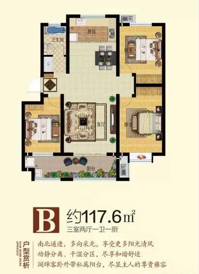 阳光新城B户型117.6㎡ 三室两厅一卫一厨