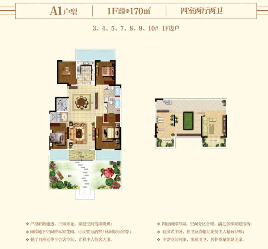 开元上府 洋房A1户型 170㎡四室两厅两卫