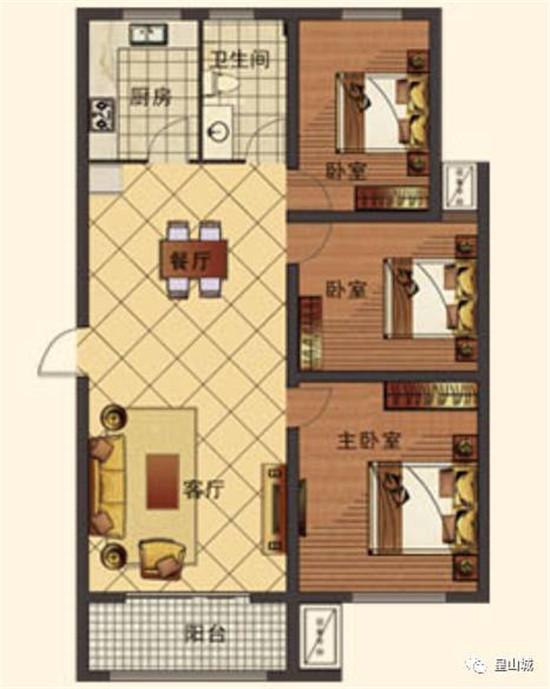 E3建筑面积约113㎡三室两厅一卫
