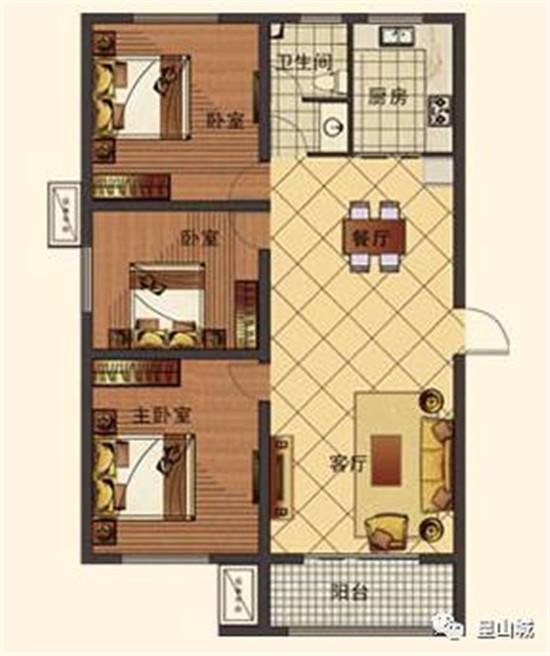 E1建筑面积约116㎡三室两厅一卫
