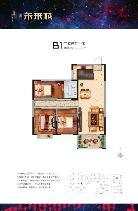 宝丽未来城 B1户型 三室两厅一卫