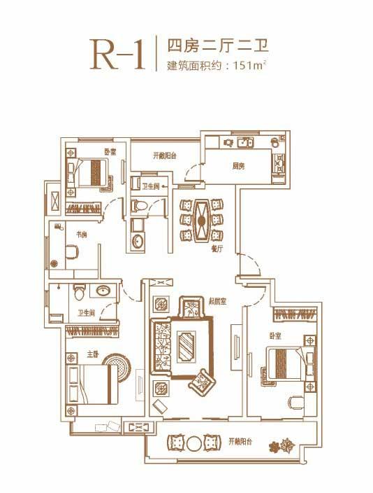 环球掌舵 小高层R-1户型 四室两厅两卫 151㎡