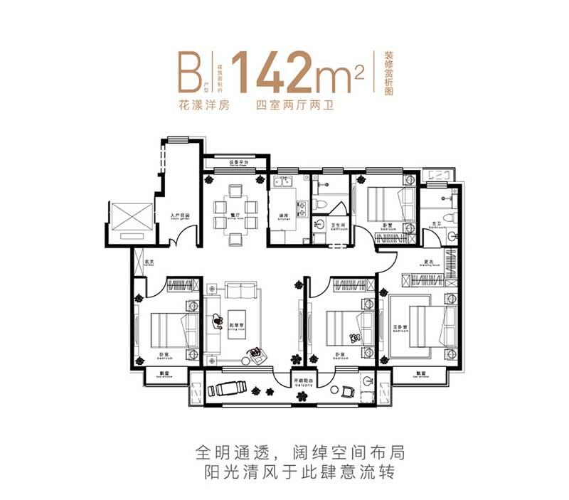 中南|鲁商·樾府B户型 四室两厅两卫 142㎡