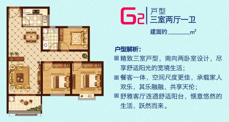 普村清河园 G2户型 三室两厅一卫