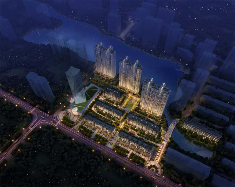 凤凰水城·君湖夜景鸟瞰图