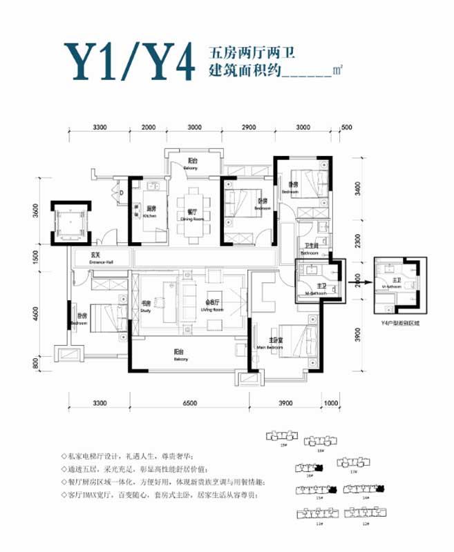 凤凰水城·君湖洋房Y1/Y4户型 五房两厅两卫 待定