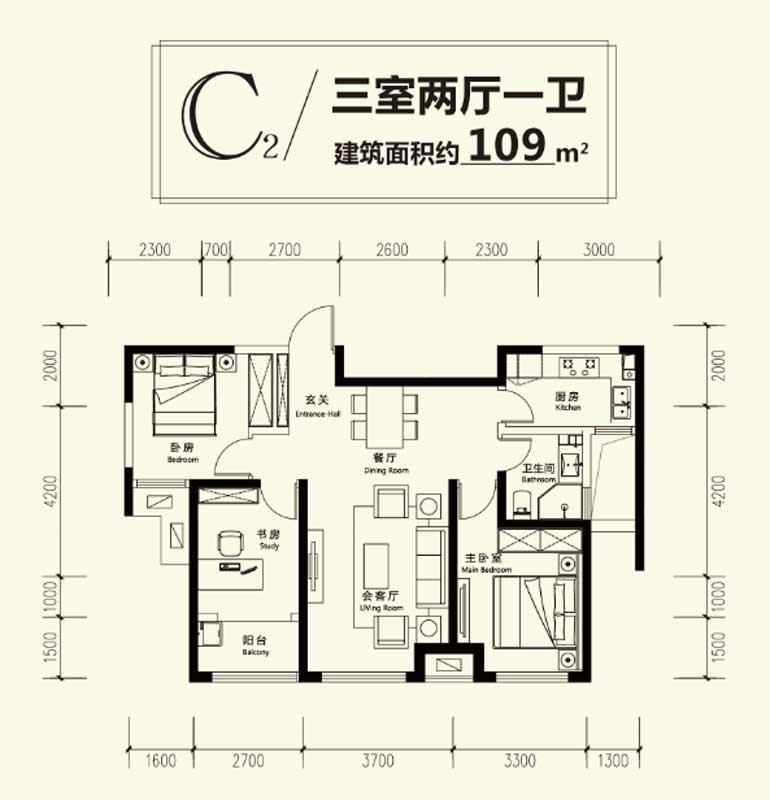 凤凰水城·君湖高层C2户型三室两厅一卫 109㎡ 待定 入会中