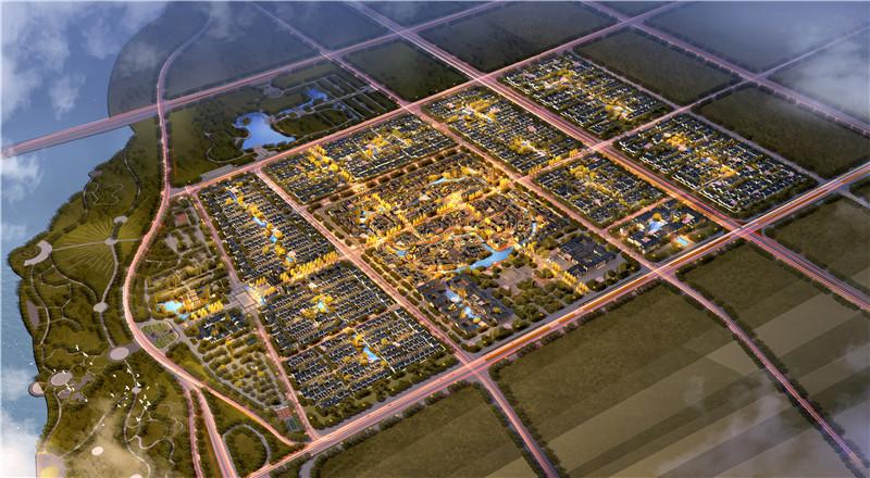 沂州古城整体鸟瞰效果图