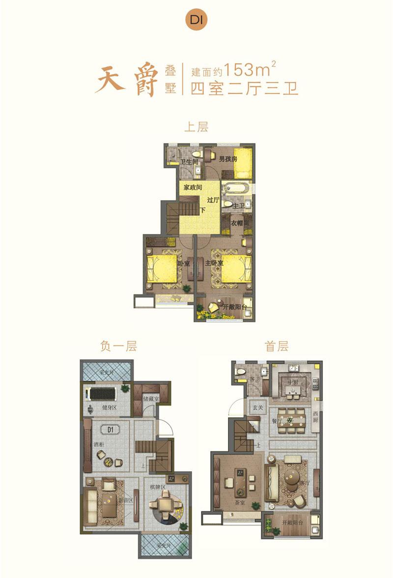 宝丽天樾叠墅D1户型 153㎡ 四室两厅三卫