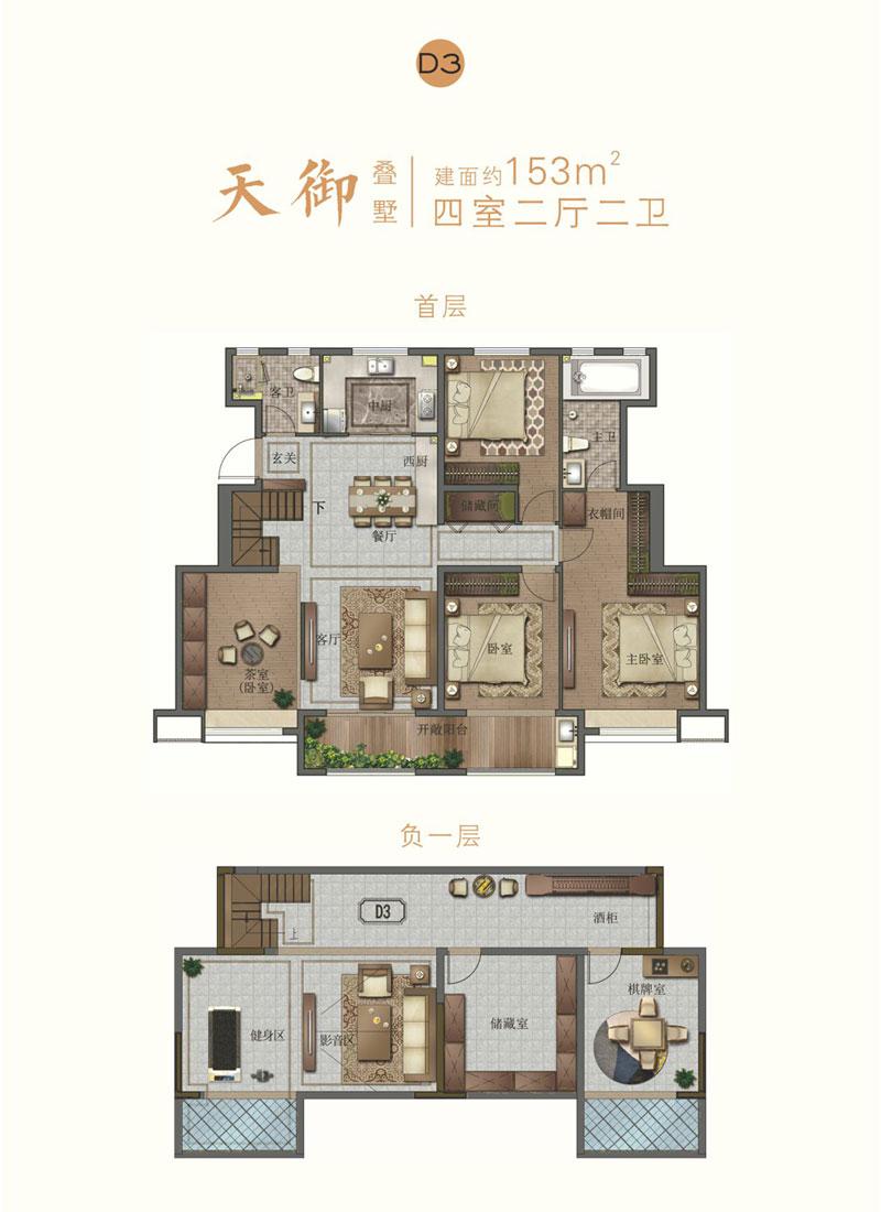 宝丽天樾叠墅D3户型 153㎡ 四室两厅两卫