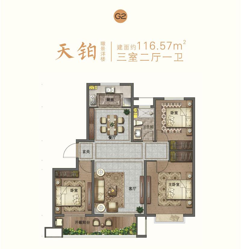 宝丽天樾洋房G2户型 116.57㎡三室两厅一卫