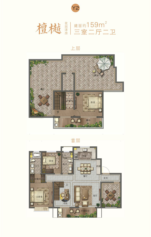 宝丽天樾洋房Y2户型 159㎡ 三室两厅两卫