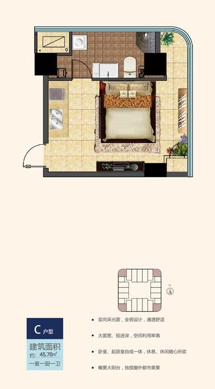 鲁南新国际C户型 45.76㎡ 一室一厨一卫