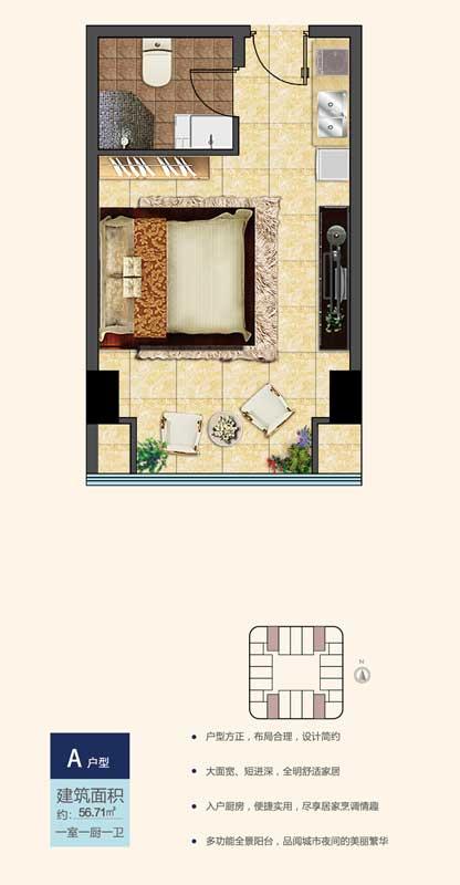 鲁南新国际A户型 56.71㎡ 一室一厨一卫