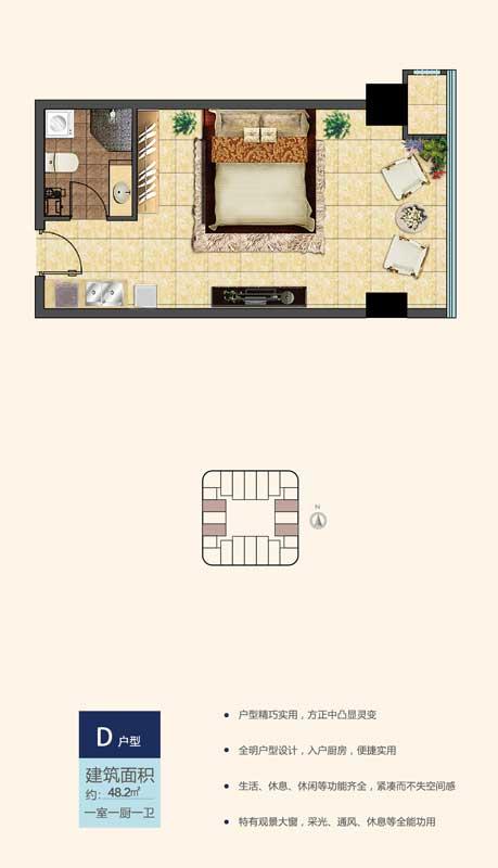 鲁南新国际D户型 48.2㎡ 一室一厨一卫