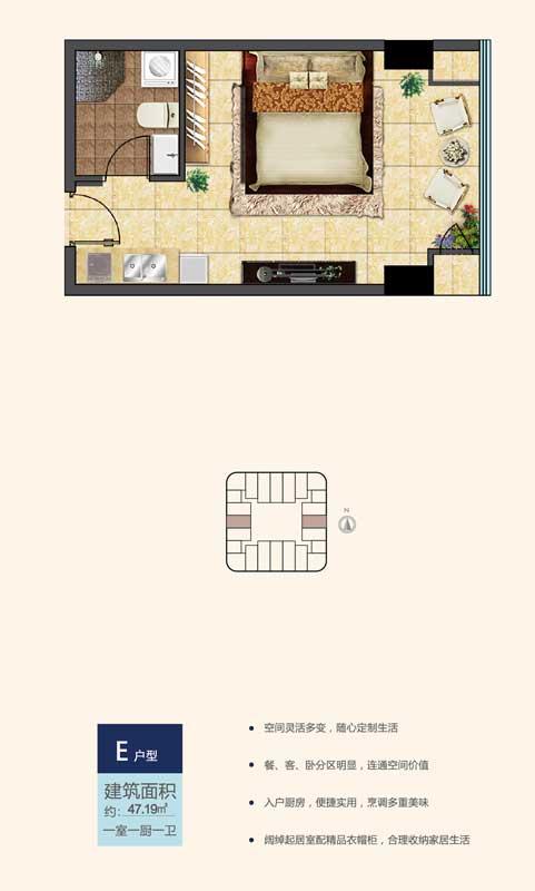 鲁南新国际E户型 47.19㎡ 一室一厨一卫