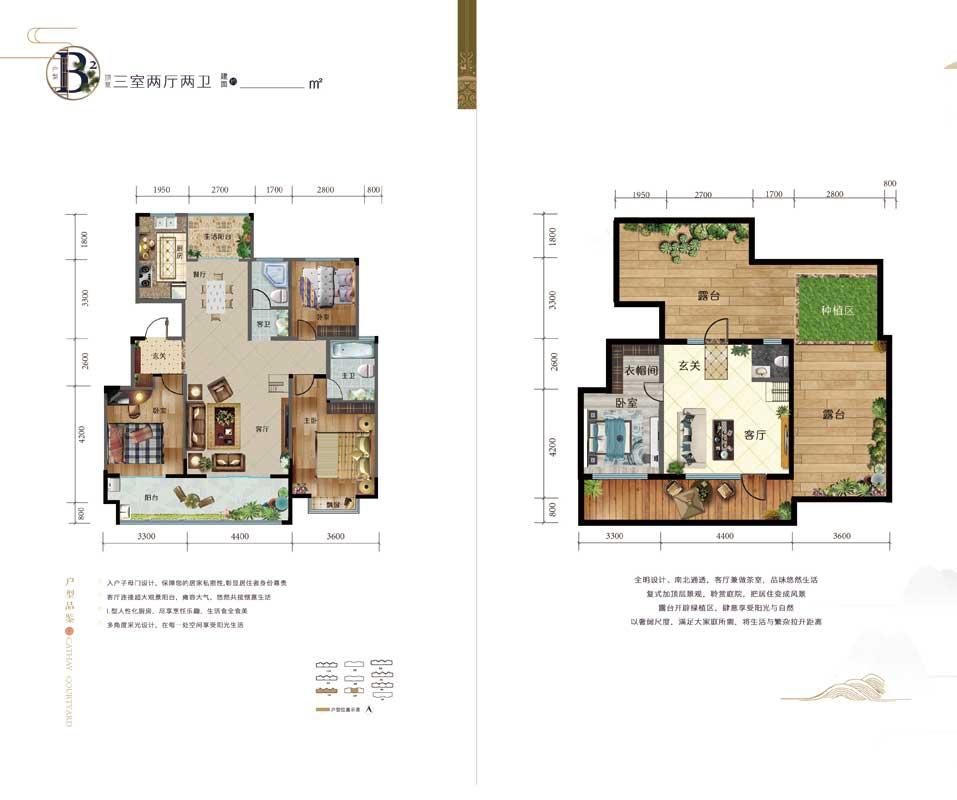 元沃·御景苑 B2户型 三室两厅两卫