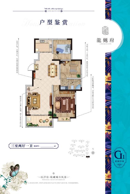 龙樾府 G1户型 三室两厅一卫