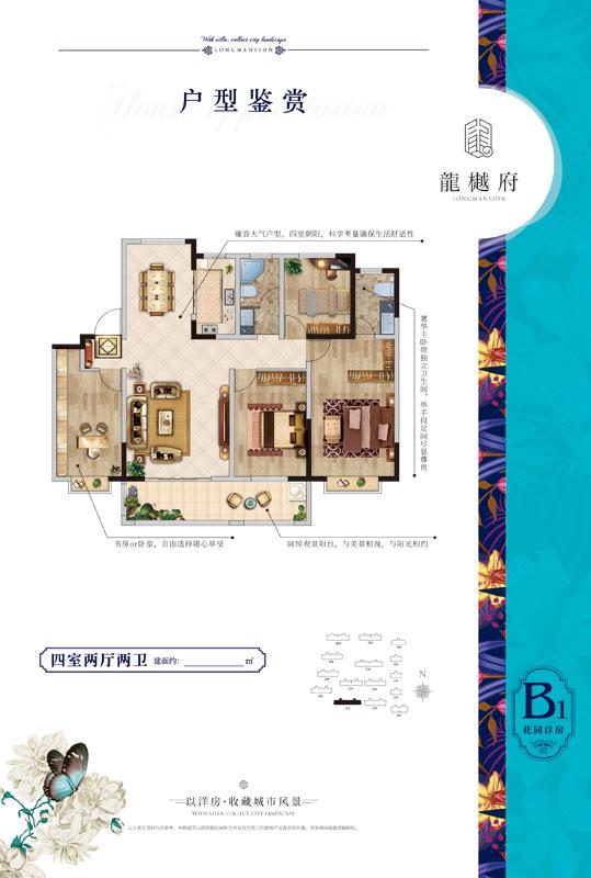 龙樾府 B1户型 四室两厅两卫