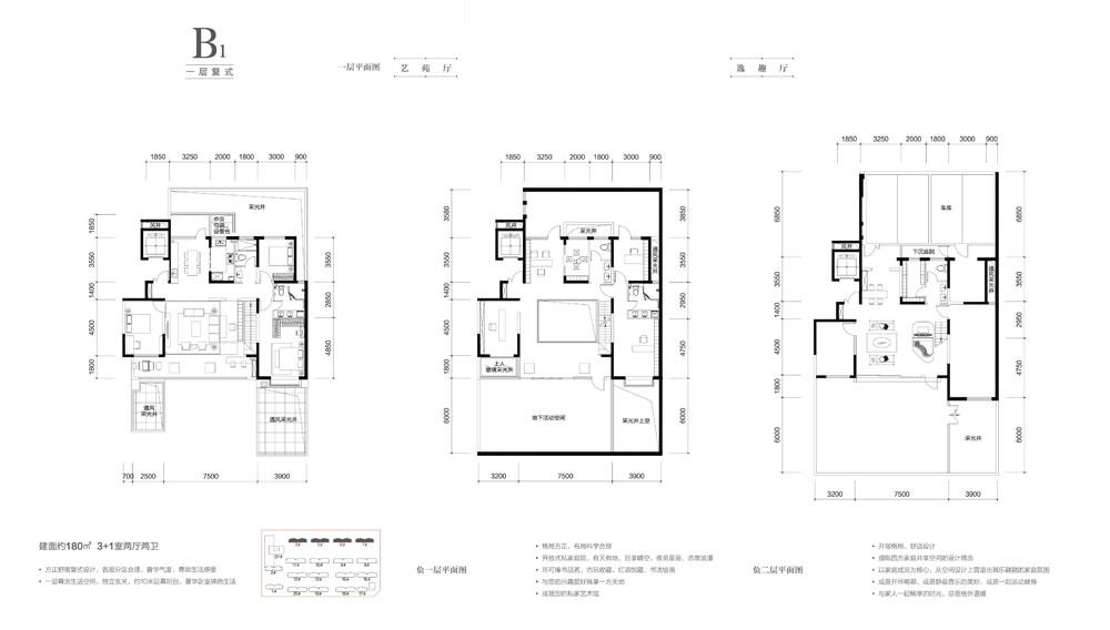 B1户型一层复式约180㎡ 3+1室两厅两卫